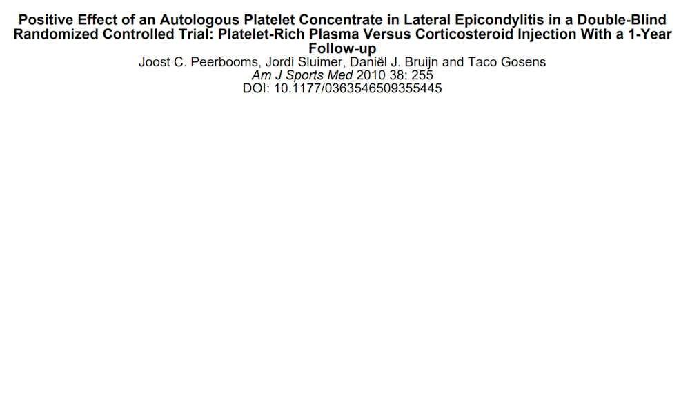 Positive effects of an Autologous Platelet