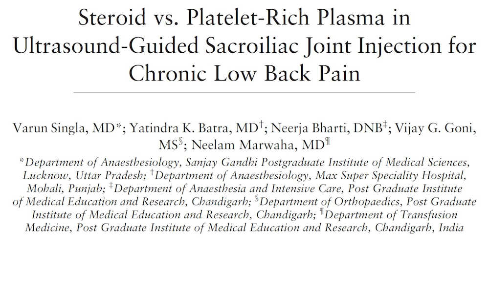 Steroid vs PRP Chronic Low Back Pain