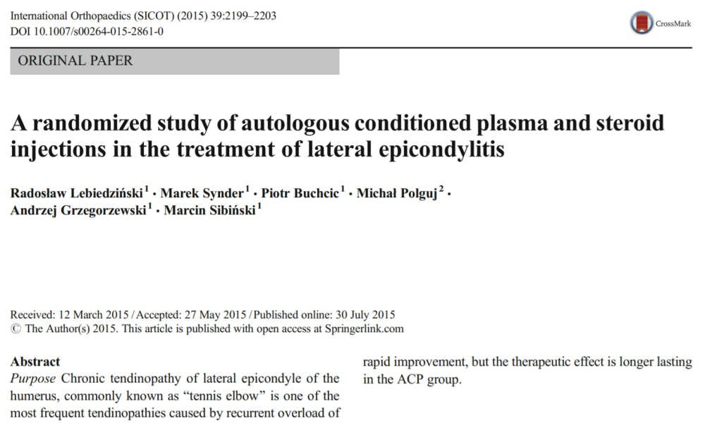 A randomized study of autologous conditioned plasma and steroid