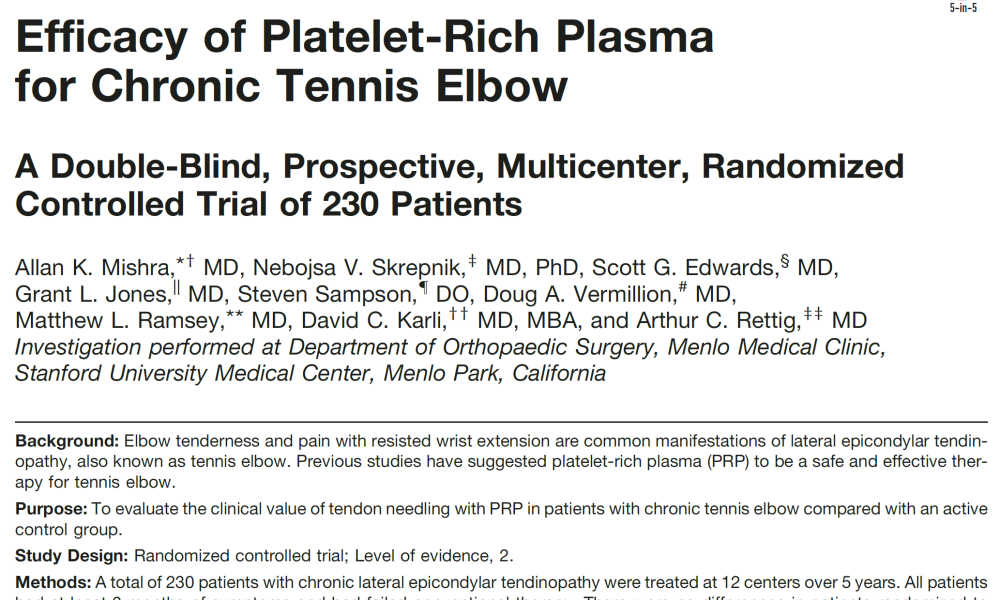 Efficacy of Platelet-Rich Plasma for Chronic Tennis Elbow