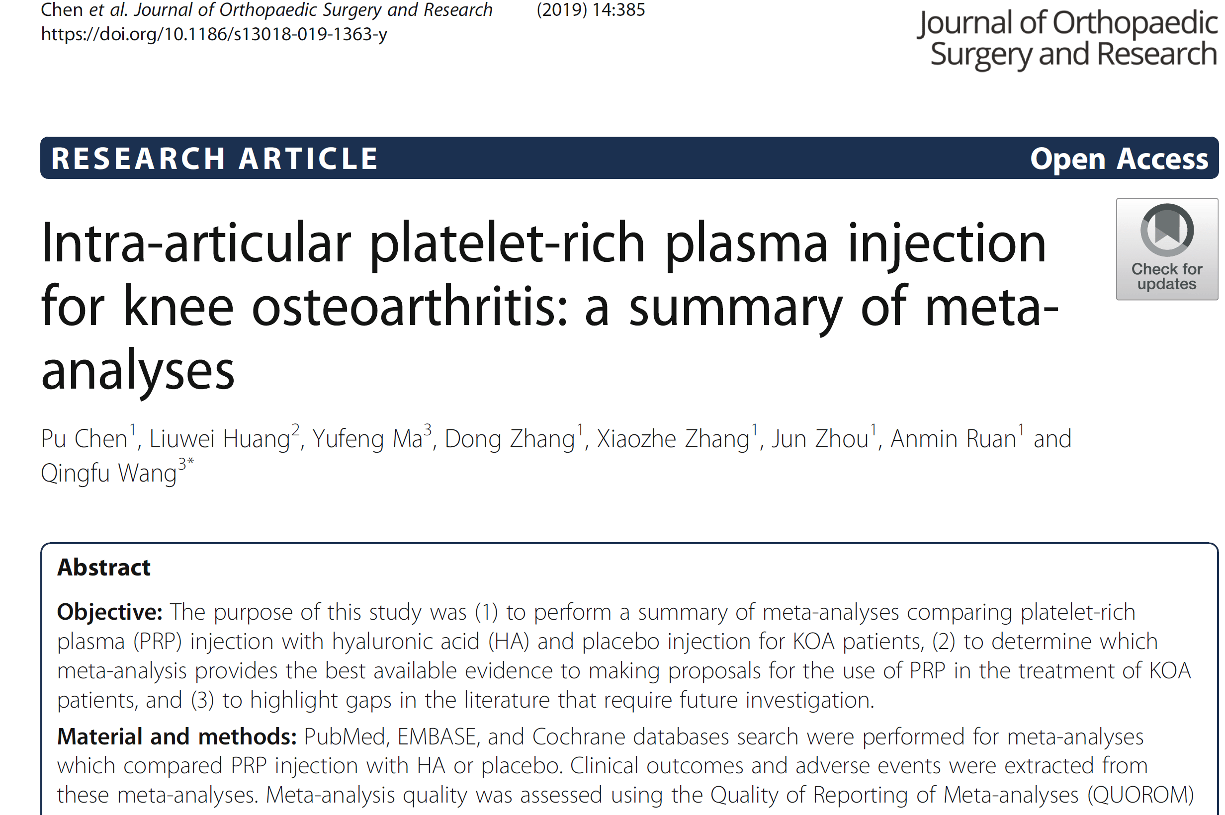 Intra-articular platelet-rich plasma injection for knee osteoarthritis a summary of metaanalyses